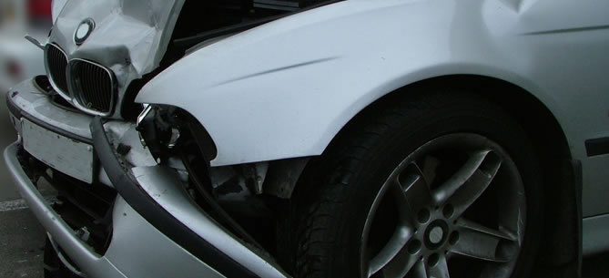 Vehicle damaged in car accident